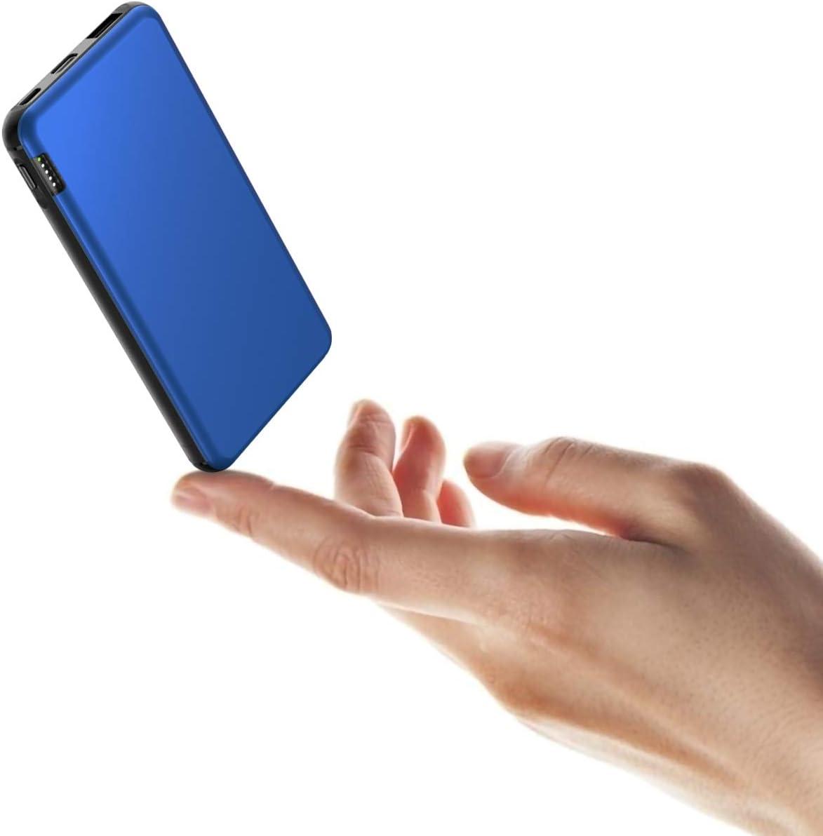 ButcHer Power Bank 10000mAh Cargador Portátil Ultra-Delgada Batería Externa Móviles con USB C & Micro Entradas y 2.4A USB Salidas para Xiaomi Redmi Samsung Huawei y Más Teléfono-Azul