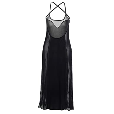 ca1a3b50631 Boowohl Femmes Lingerie Nuisettes Bobydoll Pyjama Transparent Robe Noire  Sexy Bretelles Licou Robe Clubwear