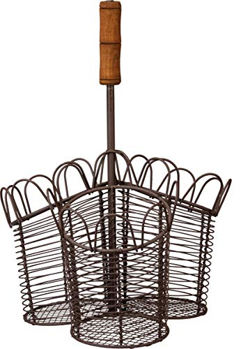(Primitives by Kathy Rustic 3-Section Metal Flatware Caddy, Farmhouse Wire and Wood, 9.50