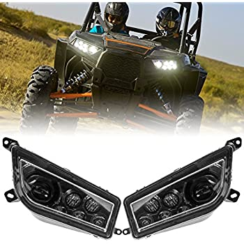 BUNKER INDUST LED Headlight Clear Lens Replacement Headlamp for 2014-2017 Polaris RZR XP 1000 900 Turbo