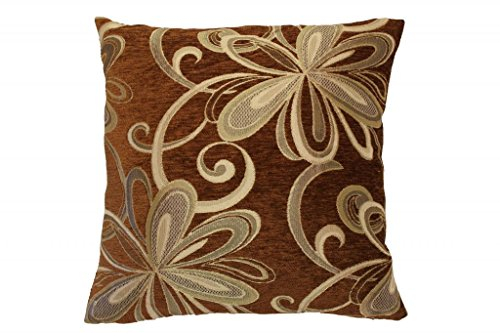 Violet Linen Chenille Chateau Vintage Floral Design Decorative Throw Pillow, 18
