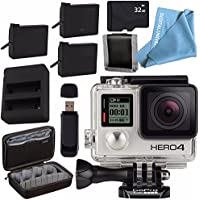 GoPro HERO 4 Silver + Rechargeable Battery + Dual Battery Charger + Sony 32GB microSDHC Card + Case for GoPro HERO4 and GoPro Accessories + Card Reader + Memory Card
