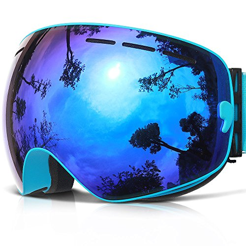 Ski Goggles,COPOZZ G1 Mens Womens Ski Snowboard Snowboarding Goggles - Over Glasses Double Lens Anti Fog Frameless,Cool REVO Mirror Blue For Men Women Youth Snowmobile - Of Best Goggles Brand