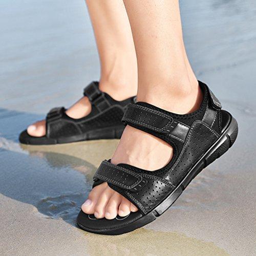 da Piscina Black Yiiquanan Estive Uomo Strappo Sportivi Sandali Scarpe Trekking in Velcro a per Chiusura Spiaggia qZq6vwr