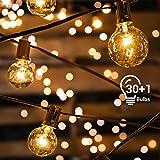 Avoalre Outdoor Fairy Lights G40 Globe String Lights 33ft/10m 30 Incandescent Bulbs IP65 Waterproof Plug-In Rope Lights for Indoor Outdoor Decoration Backyard Garden Patio Bedroom Christmas Partie