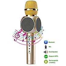 OOFAY Wireless Microphone Karaoke, Portable Bluetooth Karaoke Microphone For Iphone Android Smartphone PC Ipad, Chargeable Battery Included Dual Coloured LED Flashlight [Support TF Card],E