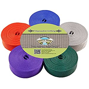 Country Brook Design | 1 Inch Polypro Webbing, 5 Yards of 5 Colors