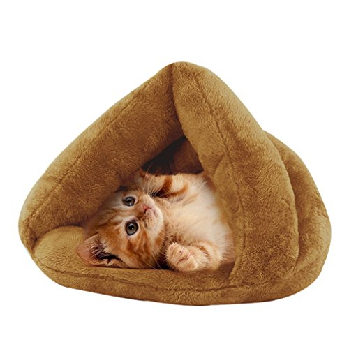 Make you perfect Soft Plush Cat Cave Pet Bed for Kitties Dog Puppy Self-Warming Sleeping Bed Tent Indoor Pet Triangle Nest Up to 16 Pounds