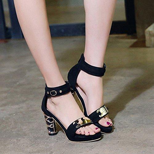 Charm Schuhe Heel Blockabsatz Schwarz Glitzer Geschlossene Shoes Obermaterial Mee High Sandalen AqUKRRB5