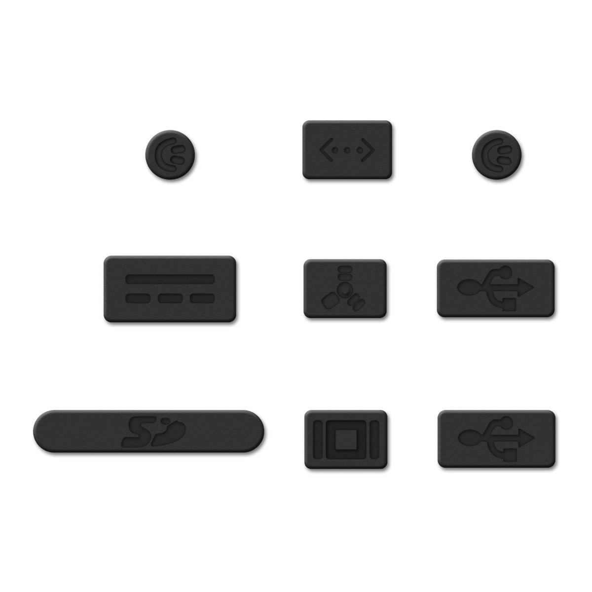 kwmobile Anti-Dust Protection Plugs Set Silicone Rubber Dust Plug Stopper for Apple MacBook Pro 13 15 - Black non-Retina
