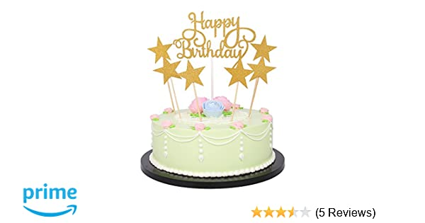 Amazon LXZS BH 7 Pack Glitter Letters Happy Birthday Cake Topper Decorations Gold Health Personal Care