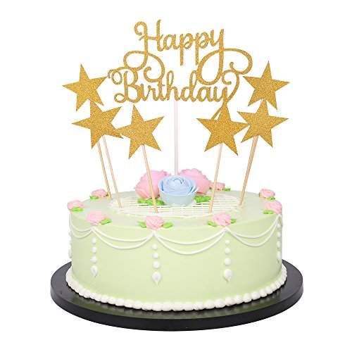 LXZS-BH 7 Pack Glitter Letters Happy Birthday Cake Topper Decorations (Glitter Gold)]()