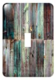 3dRose lsp_213532_1 Photograph Of Turquoise and Brown Distressed Wood - single Toggle Switch