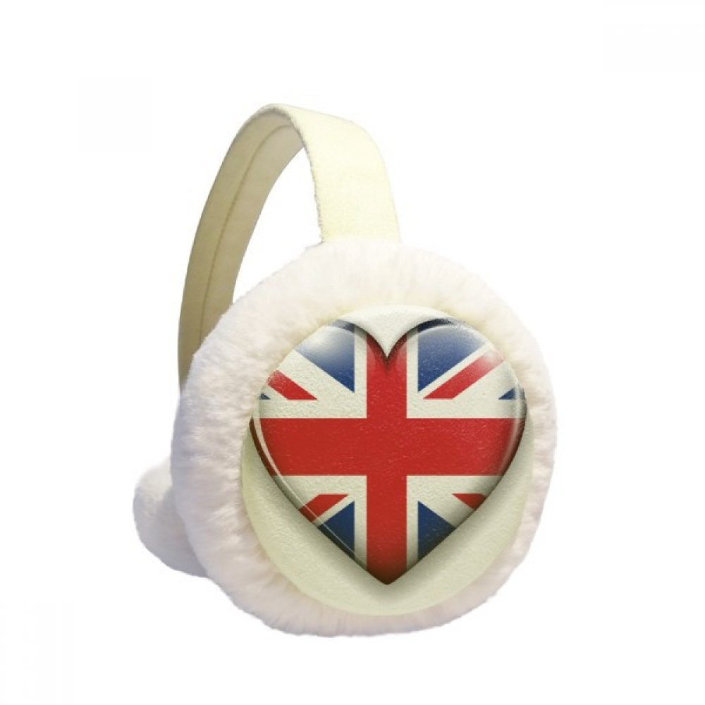 Union Jack Heart-shaped Britain UK Flag Winter Earmuffs Ear Warmers Faux Fur Foldable Plush Outdoor Gift