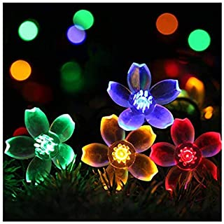 SEMILITS Outdoor Solar Flower String Lights Waterproof 23ft 50 LED Fairy Light Decorations for Christmas Tree Garden Patio Fence Yard Spring Multicolor
