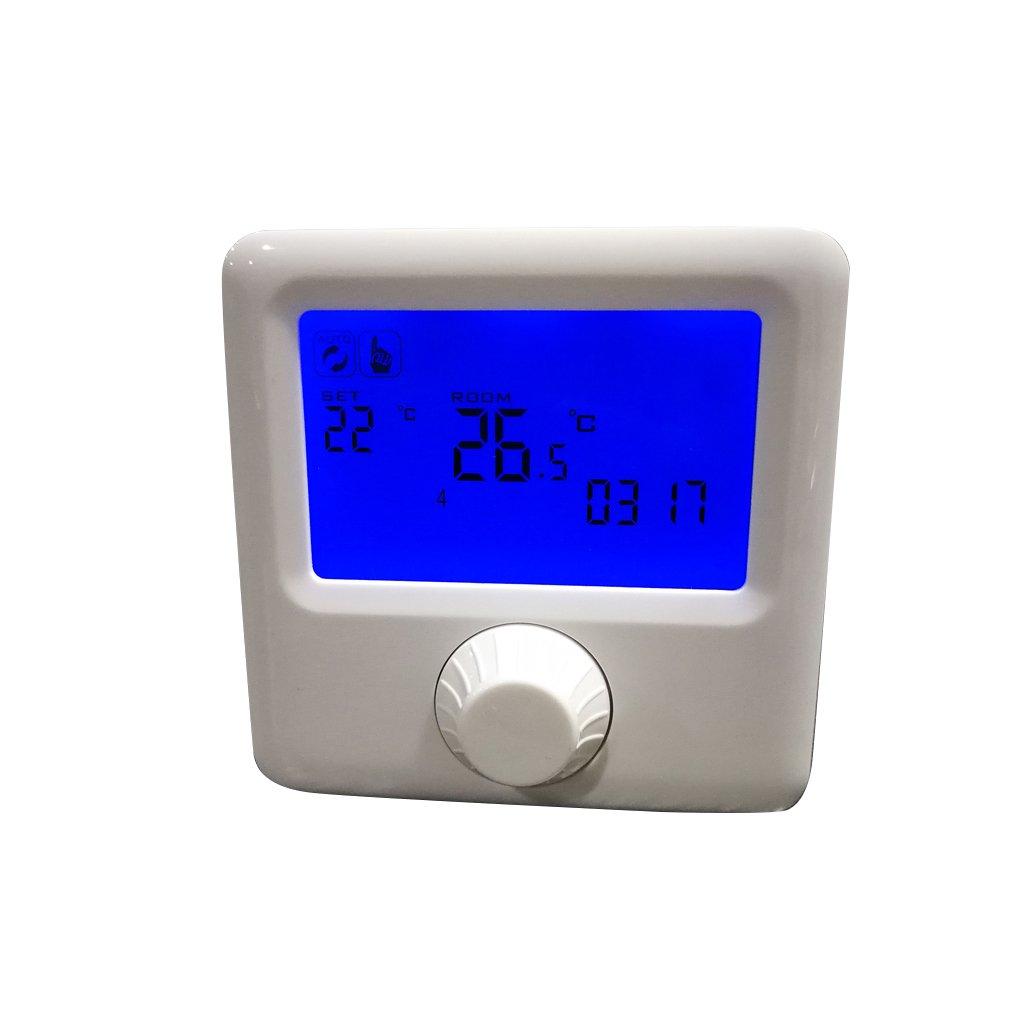 Onepeak Pantalla LCD Termostato de la caldera de gas empotrado Habitación programable semanal Termostato de calefacción Controlador de temperatura digital: ...