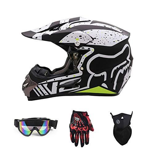 ZYX Casco de Motocross para Adultos Casco de Motocicleta Scooter Casco Certificado Rockstar Multicolor con Gafas Máscara de...