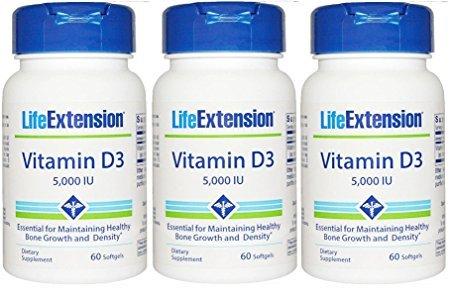 Life Extension Vitamin D3 5000 IU 60 softgels (Pack of 3 Bottles)