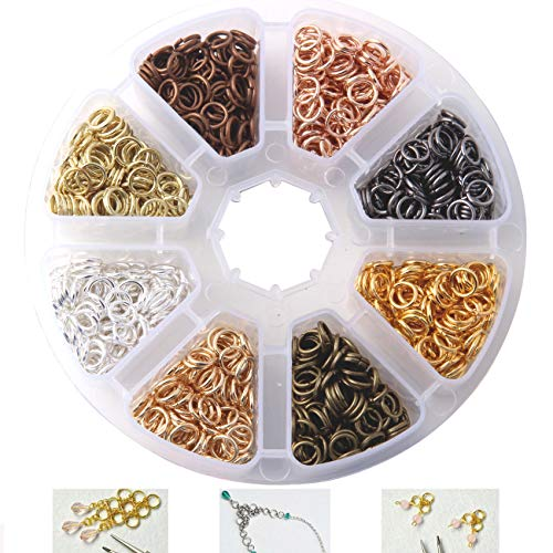 (Dushi Iron Plated Jump Rings Unsoldered 6mm Diameter Jewelry Making Findings, 8 Colors, 2400 Piece)