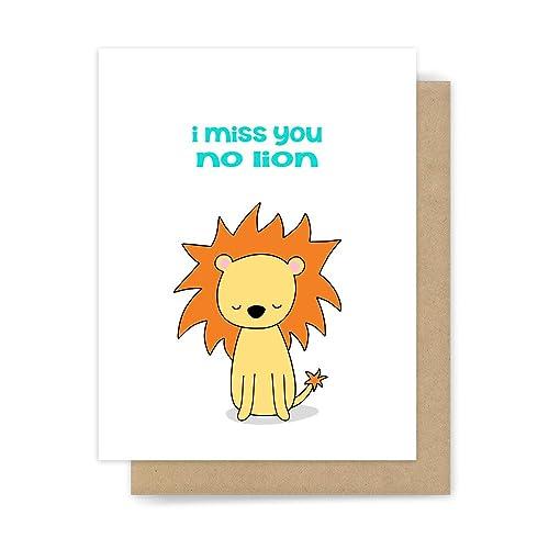 Amazoncom Funny Miss You Card Lion Pun Goodbye Handmade Greeting
