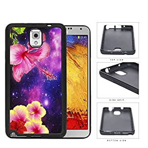 Exotic Hipster Pink/Yellow Flowers with Purple Nebula Samsung Galaxy Note III 3 N9000 Rubber Silicone TPU Cell Phone Case