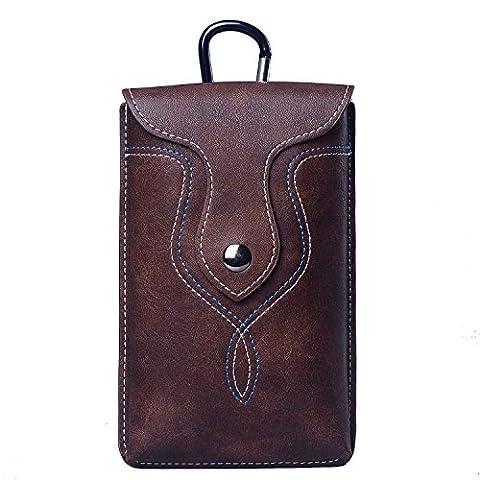 Sunmig PU Leather Cell Phone Holster Bag Smartphone Pouch Belt Case Waist Pocket (Dark Brown) - Brown Phone
