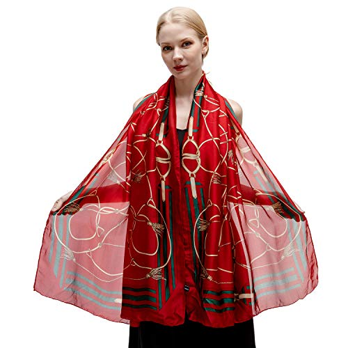 (100% Silk Scarf for Women Ladies Printed Shawl Wrap Headscarf Long Large Lightweight Satin Red Scarves)