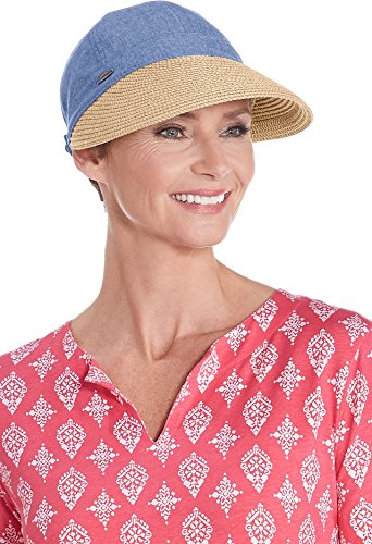 Coolibar UPF 50+ Women's Sun Shade Visor - Sun Protective (One Size- Chambray) (Golfers Sun Protection)