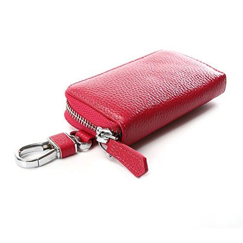Key Case Wallet, Genuine Leather Pocket Key Organizer Case Zip Around Key Case with 6 Hooks Key Holder Ring for Men&Women (6 Key Holder Wallet)