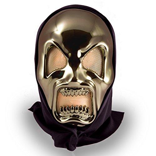 Metallic Skull Mask (Halloween Metallic Ghoul Skull Adult Mask, Gold Black, One Size)