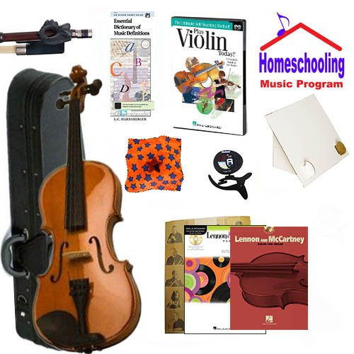 Homeschool Music - Learn to Play the Violin Pack (Lennon & McCartney Music Book Bundle) - Includes Student 1/2 Violin w/Case, DVD, Books & All Inclusive Learning Essentials