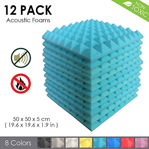 Arrowzoom New 12 Pack of (19.6 in X 19.6 in X 1.9 in) Soundproofing Insulation Pyramid Acoustic Wall Foam Padding Studio Foam Tiles AZ1034 (Baby Blue)