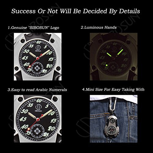 SIBOSUN Watch Company Mini Clip Microlight Nite Glow Luminous Clip on Pocket Watch Black by SIBOSUN (Image #2)