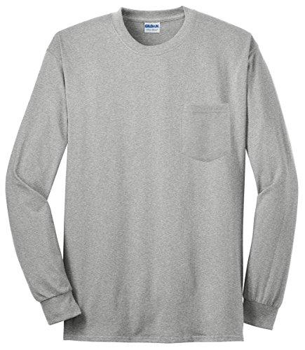 Gildan mens Ultra Cotton 6 oz. Long-Sleeve Pocket T-Shirt(G241)-SPORT GREY-5XL