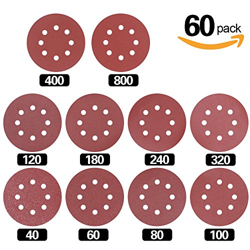 UPC 759981360077, Swpeet 60 Pcs Sanding Discs Sandpaper Hook and Loop Pads for Circular Sander Grits Sanding Sheets 10 Sizes - 40 / 60 / 80 / 100/ 120 / 180 / 240 / 320 / 400 / 800 Grits