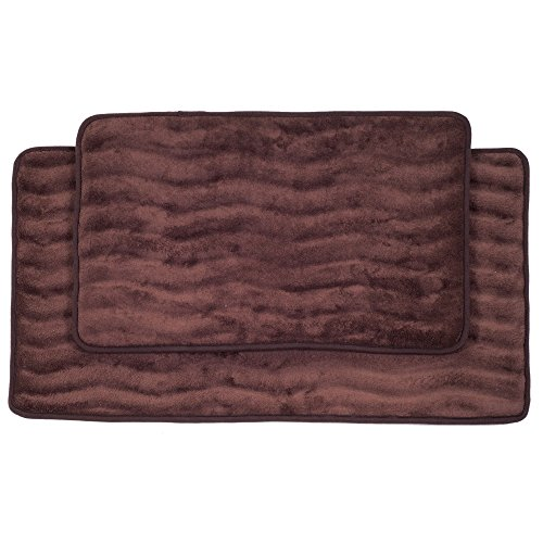 Lavish Home 2-Piece Memory Foam Bath Mat Set, Chocolate (Memory Foam Bath Mat Chocolate)