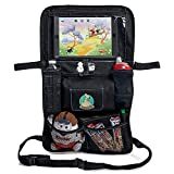 Image of Backseat Car Organizer for Kids, Baby's & Toddlers by BabySeater. Tablet iPad DVD Holder, Wet Wipes Tissue Compartment Stretchy Storage Pockets. Kick Mat Seat Back Protector - MOTHERS DAY GIFT