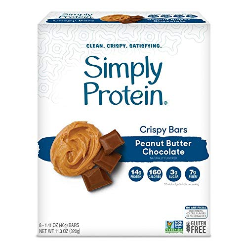 Simply Protein Crispy Bar, Peanut Butter Chocolate, 14g Protein, 8 Ct (Pack of 1)