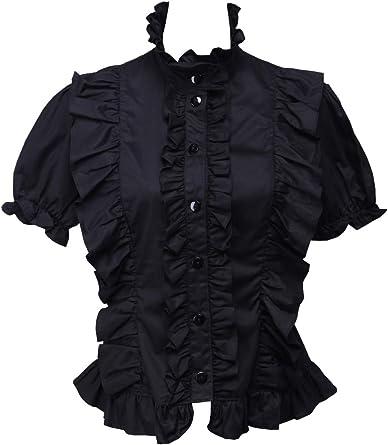 Negra Algodón Volantes Encaje Stand-up Collar Manga de Soplo Gotica Lolita Camisa Blusa de Mujer: Amazon.es: Ropa y accesorios