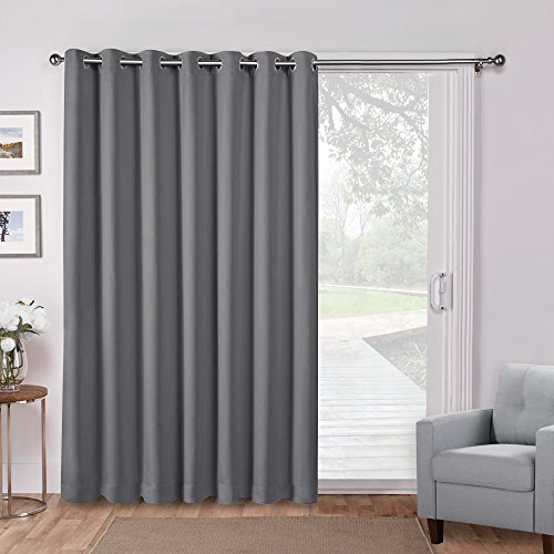 Panel Door Pony (PONY DANCE Vertical Blinds for Sliding Door Windows - Blackout Slider Curtains Room Divider Screen Partition Wide Thermal Funtion Curtain Drapes, Wide 100
