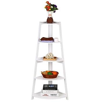 Corner Ladder Shelf Wooden White 5 Tier Storage Rack Bookcase Bookshelf Flower Display Open