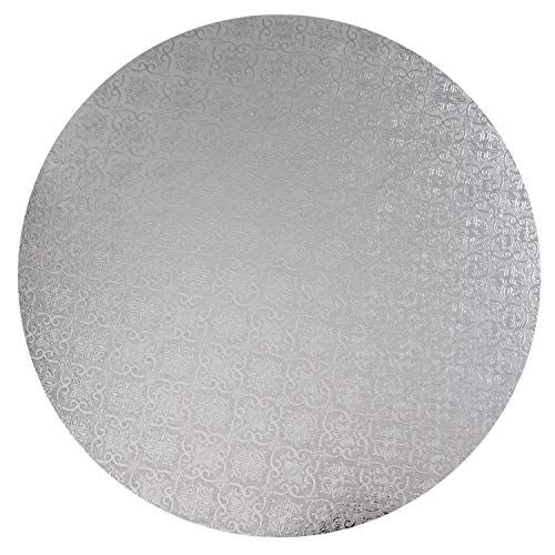 O'Creme Silver Wraparound Cake Pastry Round Drum Board 1/4 Inch Thick, 16 Inch Diameter - Pack of 10