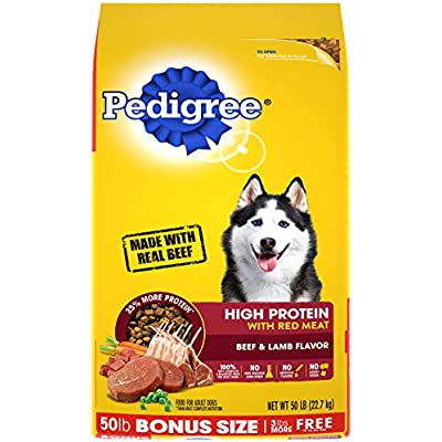 PEDIGREE High Protein – Beef and Lamb Flavor Adult Dry Dog Food, 50 Pound Bonus Bag (10171526)