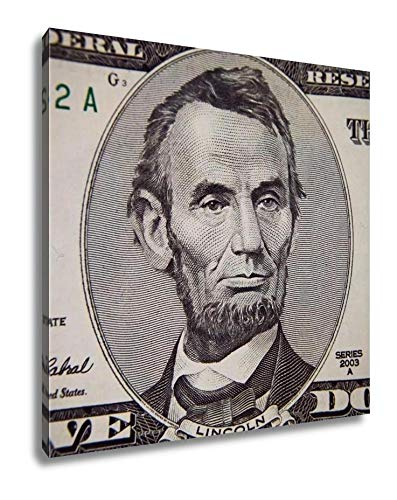 Ashley Canvas Abraham Lincoln Portrait from Five Dollars Bill, Wall Art Home Decor, Color, 16x16 (Abraham Lincoln On The Five Dollar Bill)
