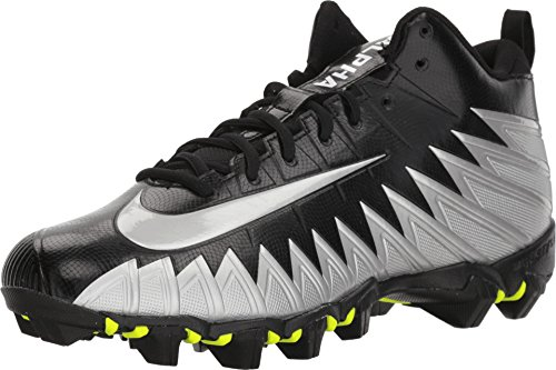 Football Nike Mens Shoes - Nike Men's Alpha Menace Shark Football Cleat Black/Metallic Silver/White Size 10 M US