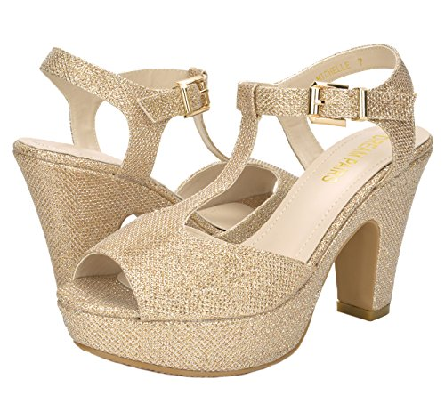 Womens PAIRS Michelle Heel Mid Platform Pump Sandals Gold DREAM qZ65dq