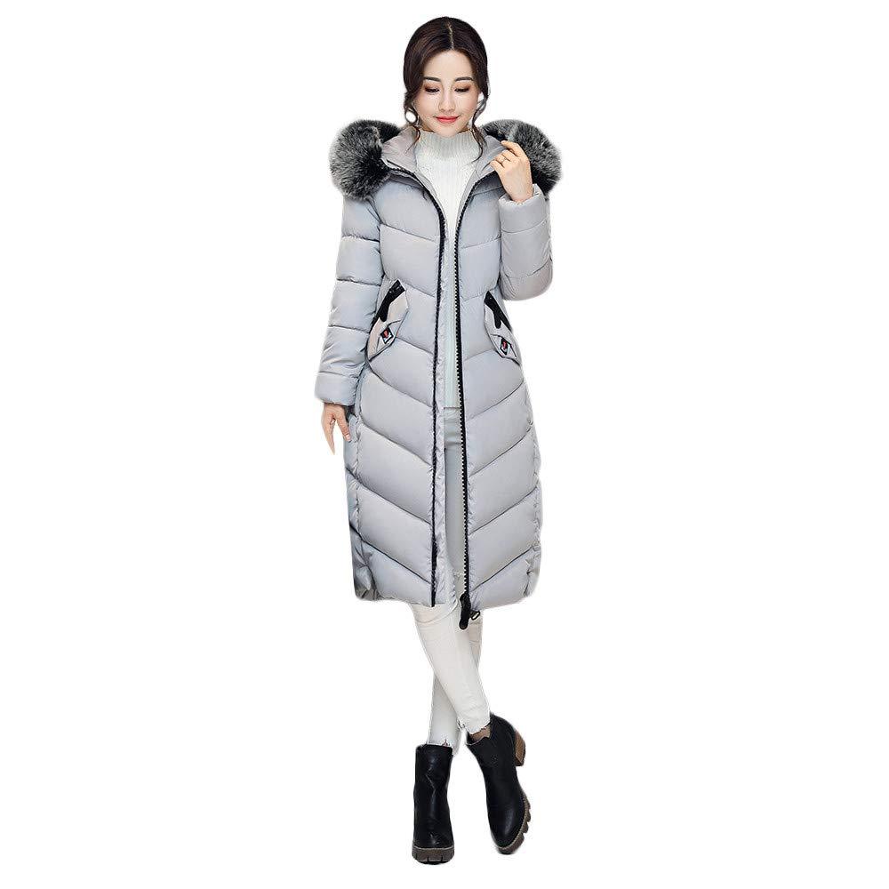 Women Jackets Winter Warm Zipper Long Cotton-Padded Pocket Fur Hooded Outwear Coats