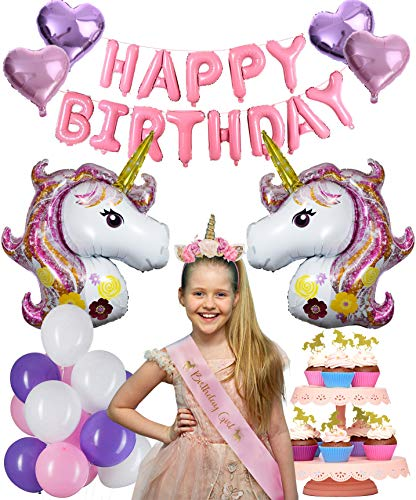 SilverDel Affordable Unicorn Party Supplies with Birthday Girl Favors Unicorn Headband, Sash, Cup Cake Toppers, 18x Latex, 4X Heart and 2X Unicorns Head Balloons and Banner Decorations for Girls