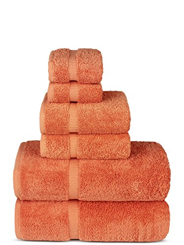 Luxury Spa and Hotel Quality Premium Turkish 6-Piece Towel Set (Coral, 2 x Bath Towels, 2 x Hand Towels, 2 x Washcloths)