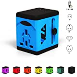 VLG All-in-one Travel Adapter and Charger - US/EU/UK/AU Plug Adapter - Dual 2.4A USB Ports for Quick Charging - Use Worldwide in 150+ Countries - w/Gift Pouch